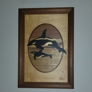 Wood Carved Whales Picture